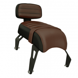 GENUINE LEATHER PASSENGER SEAT WITH SISSY BAR - BROWN